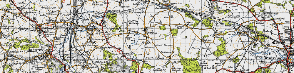 Old map of Woodall in 1947