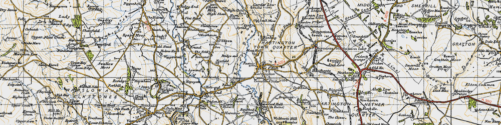 Old map of Hartington in 1947