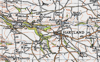 Old map of Hartland in 1946