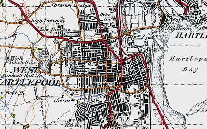 Old map of Hartlepool in 1947