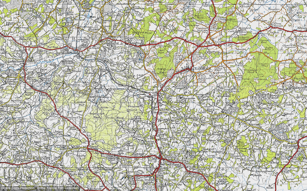 Old Map of Historic Map covering Whitelimes in 1940