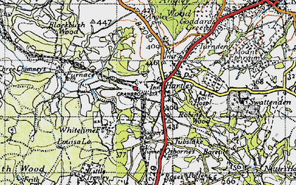 Old map of Badger's Oak in 1940