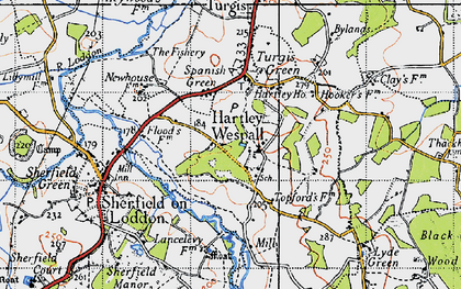 Old map of Hartley Wespall in 1940