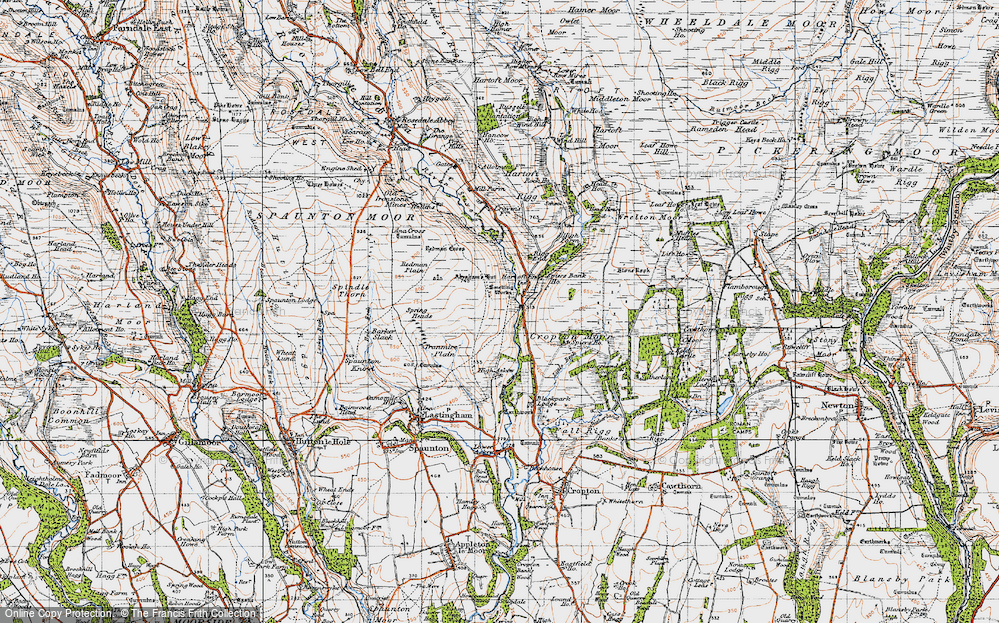 Old Map of Historic Map covering Abraham's Hut (Cairn) in 1947