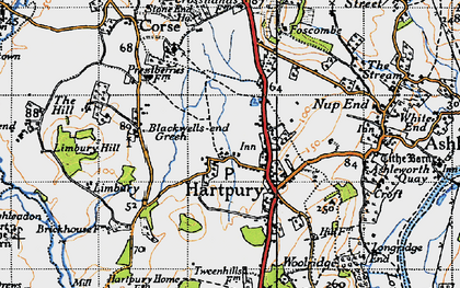 Old map of Hartpury in 1947