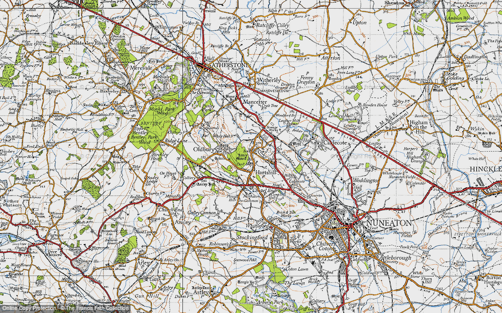 Old Map of Historic Map covering Woodford Br in 1946