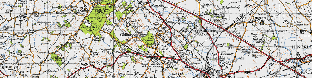 Old map of Woodford Br in 1946