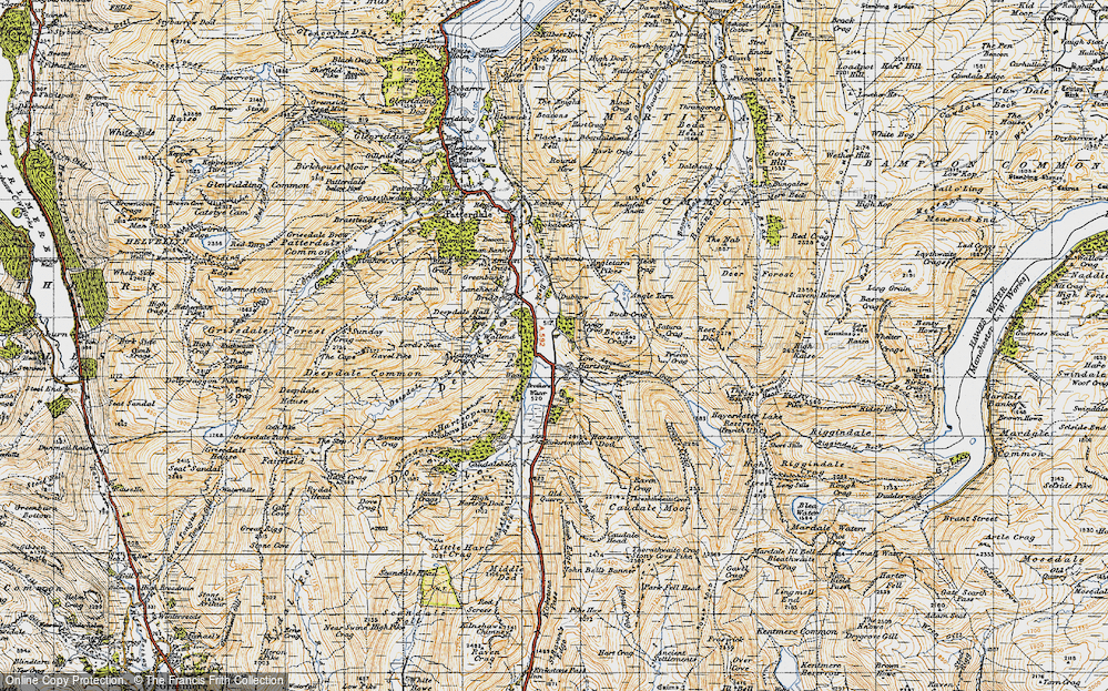 Old Map of Historic Map covering Lingy Crag in 1947