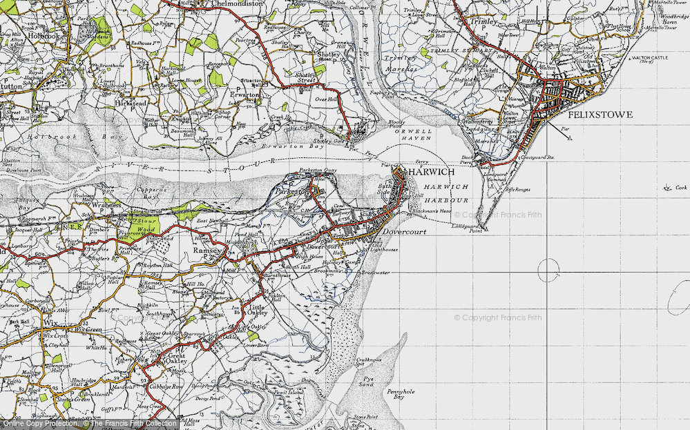 Old Map of Harwich, 1946 in 1946