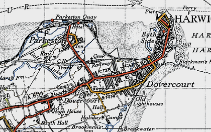 Old map of Harwich in 1946