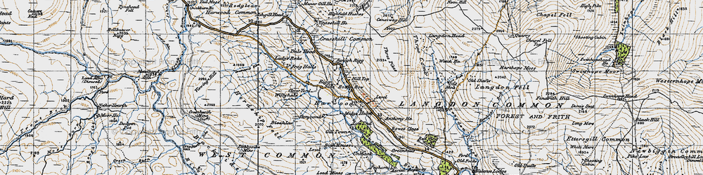 Old map of Widdybank Fell in 1947