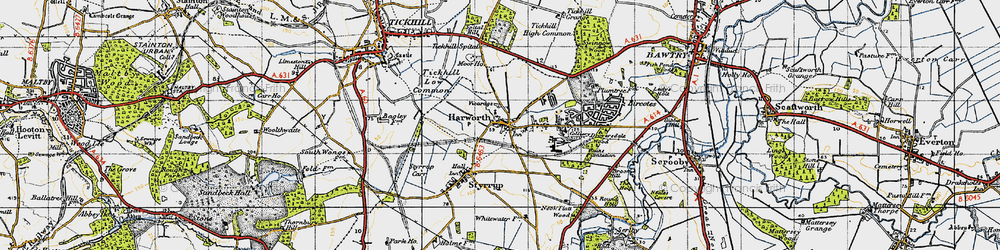 Old map of Harworth in 1947