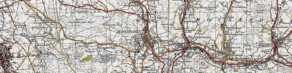 Old map of Haslingden in 1947