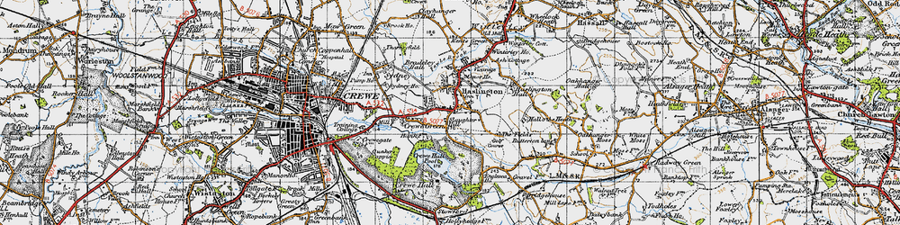 Old map of Haslington in 1947