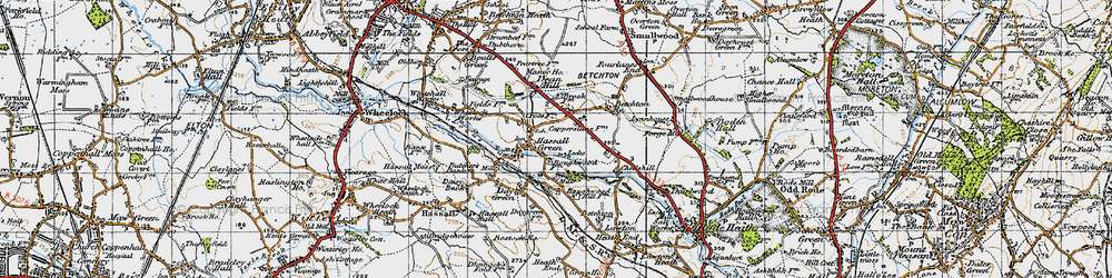 Old map of Hassall Green in 1947