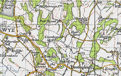 Old map of Wye Downs in 1940