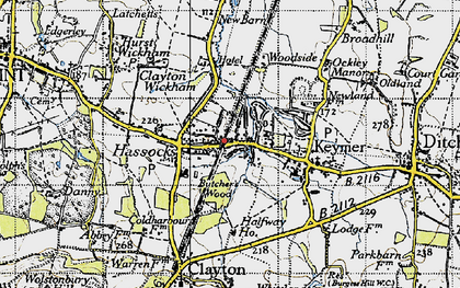 Old map of Hassocks in 1940