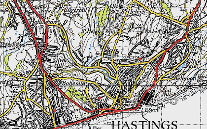 Old map of Hastings in 1940