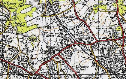 Old map of Hatch End in 1945