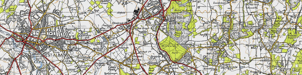 Old map of Hatfield in 1946
