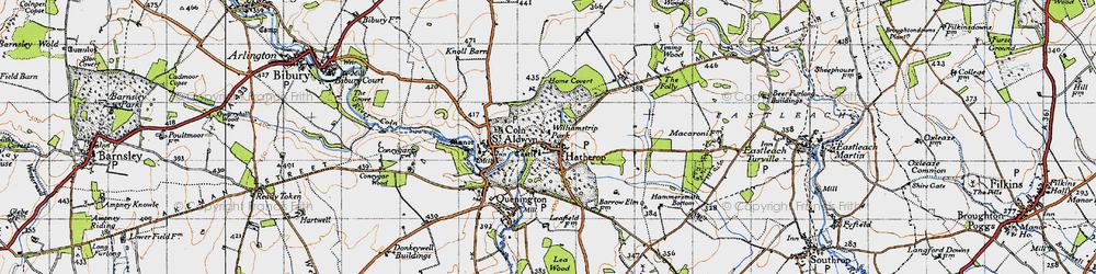 Old map of Akeman Street (Roman Road) in 1947