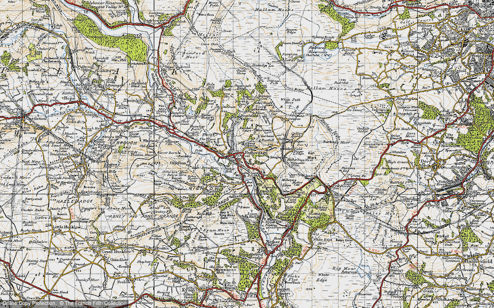 Old Map of Historic Map covering White Path Moss in 1947