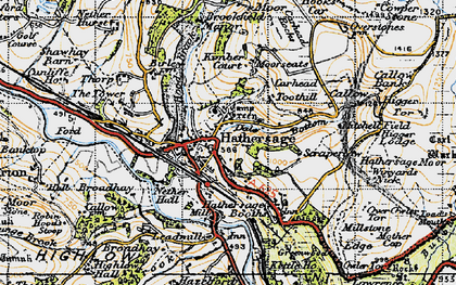 Old map of Hathersage in 1947