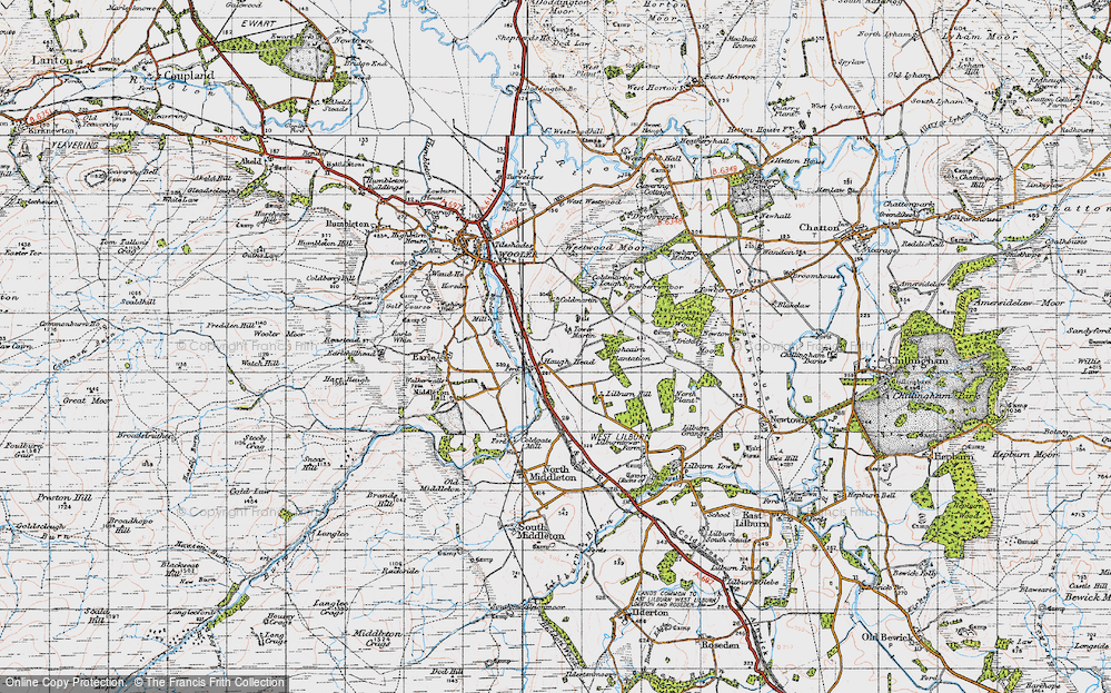 Old Map of Historic Map covering Lilburn Hill in 1947