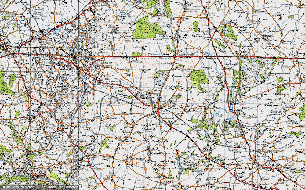 Old Map of Historic Map covering Aston Coppice in 1946