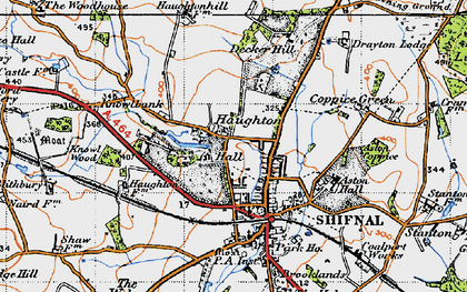 Old map of Aston Coppice in 1946