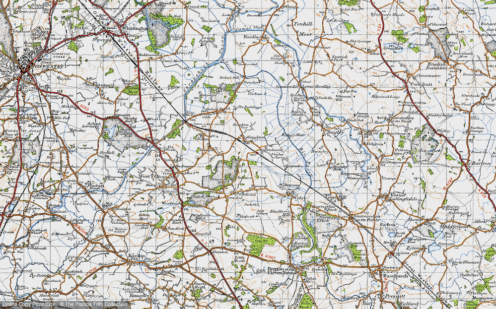 Old Map of Haughton, 1947 in 1947