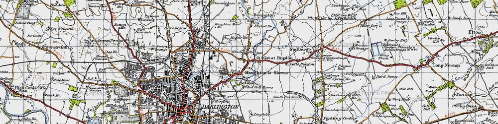Old map of Haughton Le Skerne in 1947