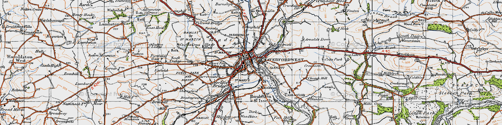 Old map of Haverfordwest in 1946