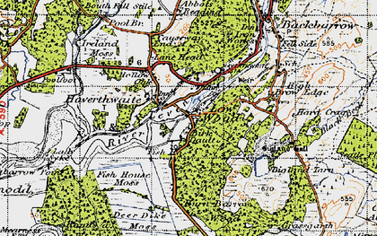 Old map of Haverthwaite in 1947