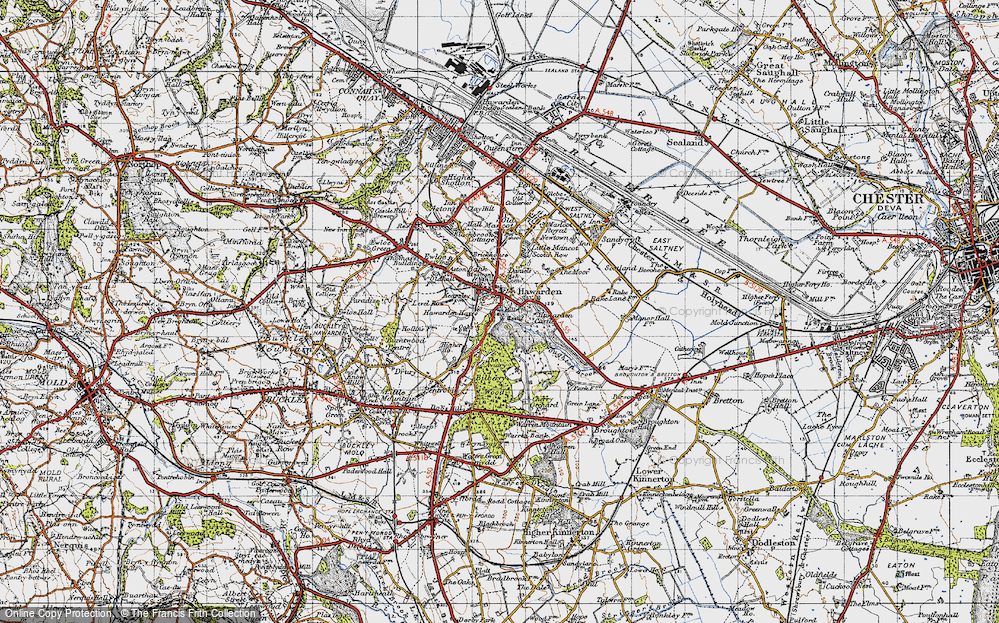 Old Map of Historic Map covering Aviary, The in 1947