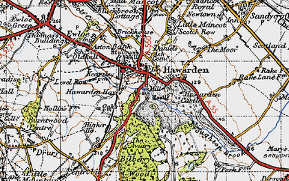 Old map of Hawarden in 1947