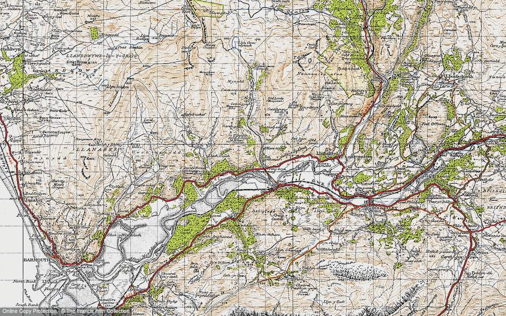 Old Map of Historic Map covering Afon Cwm-mynach in 1947