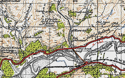 Old map of Afon Cwm-llechen in 1947