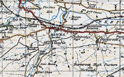 Old map of Hawes in 1947