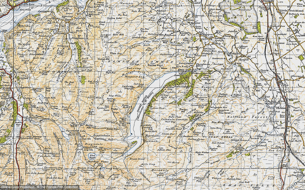Old Map of Historic Map covering Bampton Common in 1947