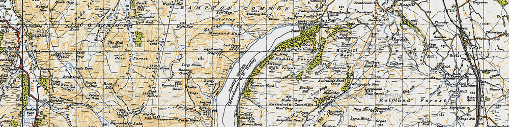 Old map of Whelter Crags in 1947