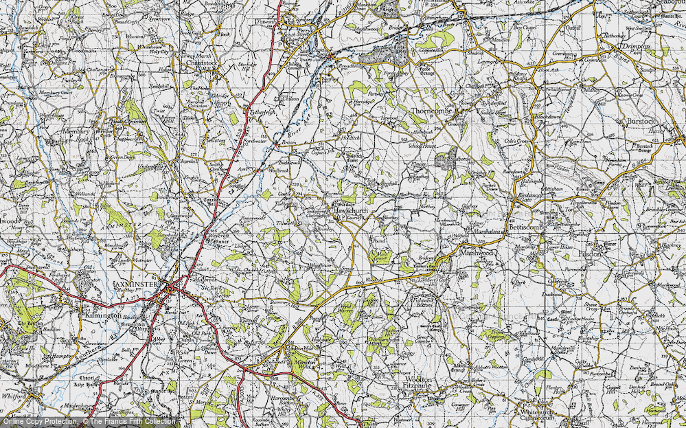 Old Map of Hawkchurch, 1945 in 1945