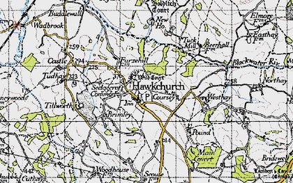 Old map of Wyld Court in 1945