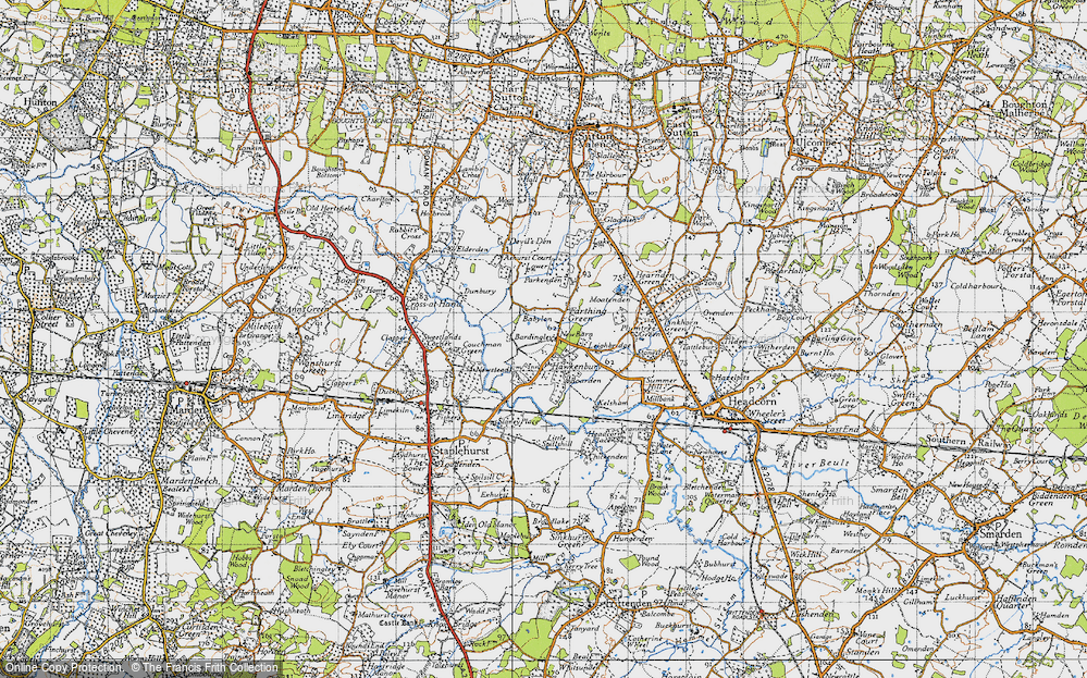 Old Map of Historic Map covering Bardingley in 1940