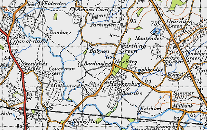 Old map of Bardingley in 1940