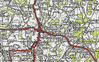 Old map of Hawkhurst in 1940