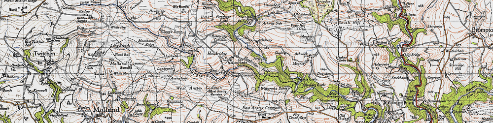Old map of Whiterocks Down in 1946