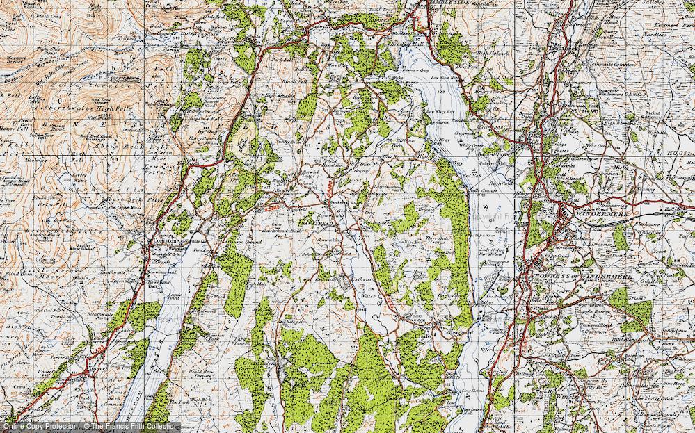 Old Map of Hawkshead, 1947 in 1947