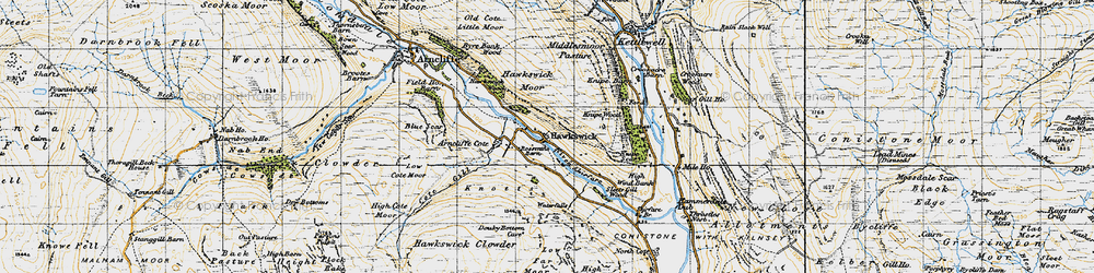 Old map of Wharfedale in 1947