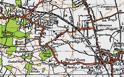 Old map of Hawkwell in 1945